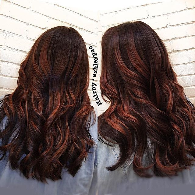 Brunette With Copper Balayage Hair Inspiration Color Hair Styles Hair