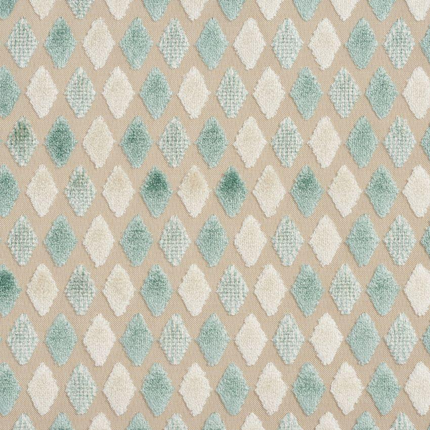Aqua and White Soft Velvet Tufted Diamond Pattern Upholstery Fabric #velvetupholsteryfabric