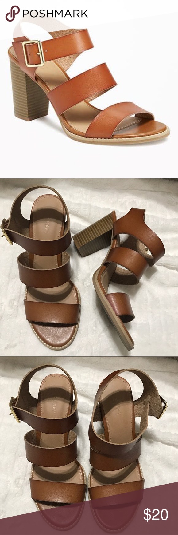 b2c306524d12d3  20 Old Navy Triple Strap Block Heel Sandals Worn once. Size too big for  me. Perfect condition! Old Navy Shoes Sandals