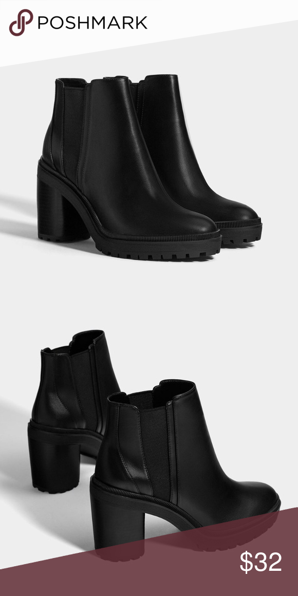 02f0287e07c4 bershka platform ankle boots with elastic panel black ankle boots with  elastic side panels. track sole. block heel. worn only one time!