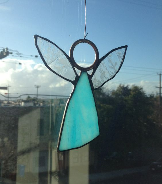 White Stained Glass Modernist Angel Ornament/Sun by AzureCricket