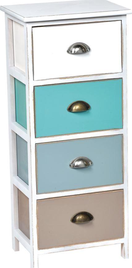 meuble mdf paulownia 4 tiroirs poigne s m tal blanc turquoise bleu taupe meuble salle de. Black Bedroom Furniture Sets. Home Design Ideas