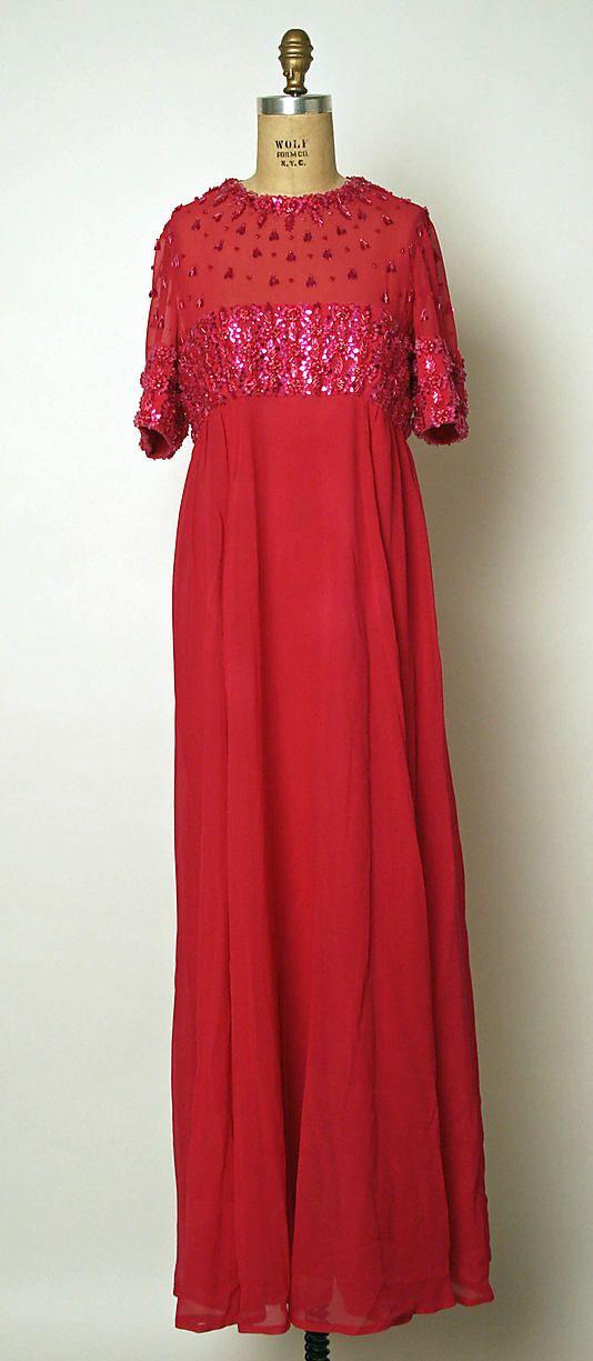 1968 Pierre Balmain Evening dress Metropolitan Museum of Art, NY. See more vintage dresses at www.vintagefashionandart.com/dresses