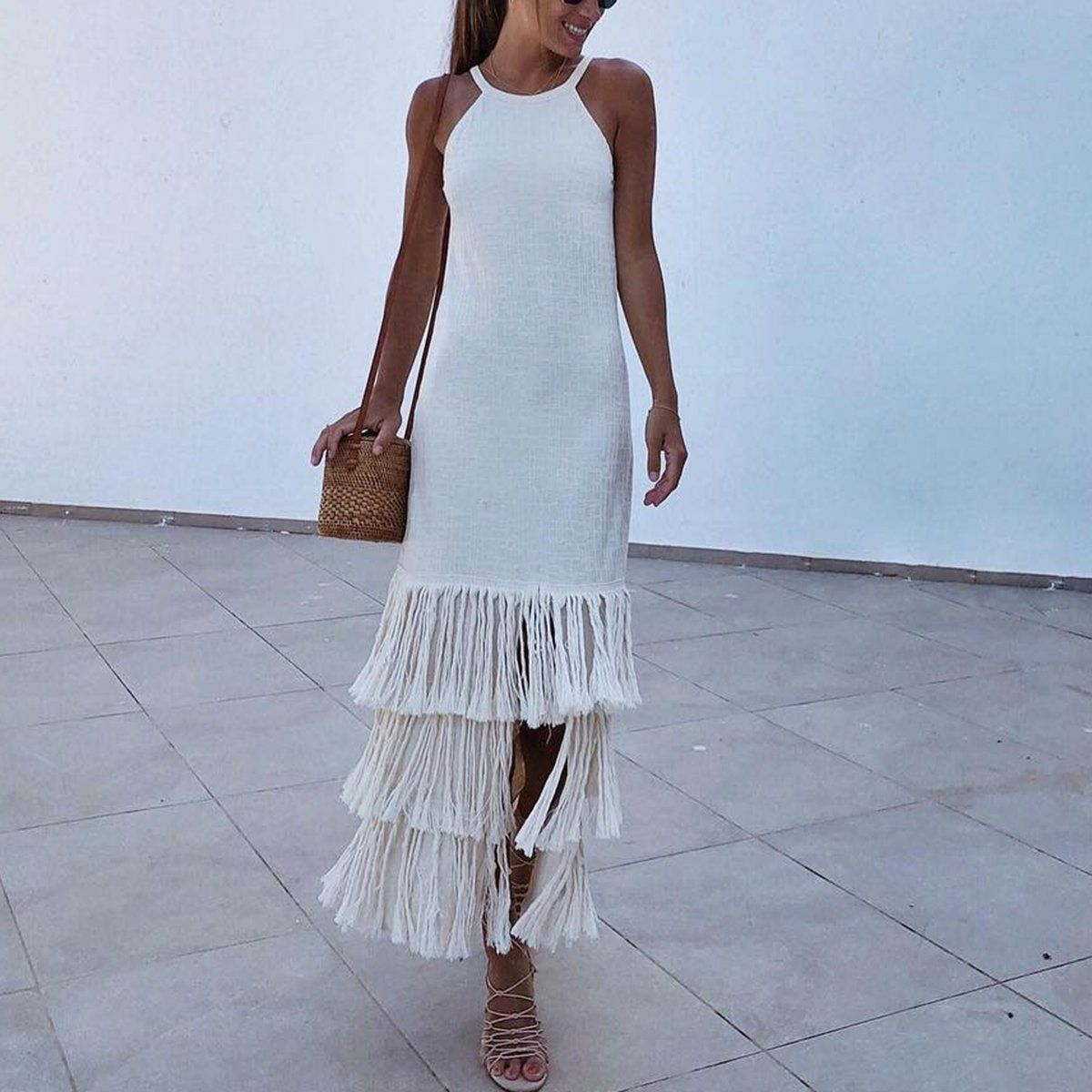 f374d82e101 SPECIFICATIONS  Product Name Sexy White Sleeveless Tassel Maxi Dress Brand  Rolachic Color White SKU INY727FB12B2E2A