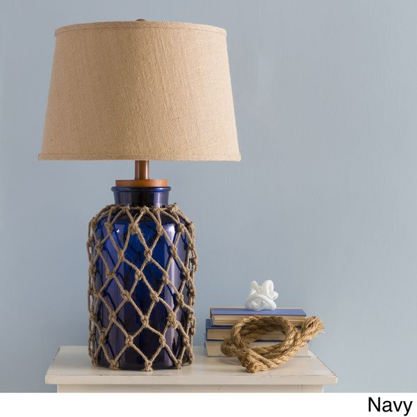 Gorgeous Sea Glass Blue Burlap Rope Nautical Living Room Lamp