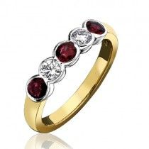 18ct Gold 5st Diamond and Ruby Eternity Ring - R:0.40 D:0.20