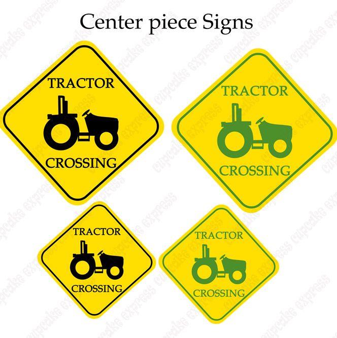 John Deere Inspired Printable Tractor Crossing Center Piece signs – John Deere Printable Birthday Invitations