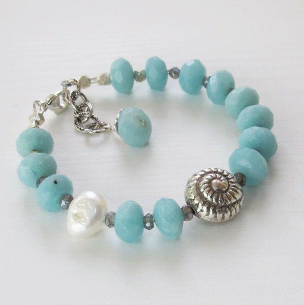 Amazonite, Pearl, Sterling Silver Shell Charm Gemstone Bracelet Sundance, $69.99, DJStrang