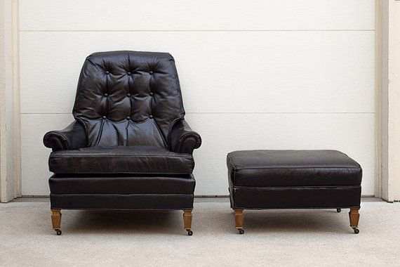black leather club chair and ottoman nursery rocking kijiji mid century tufted vintage by homesteadseattle 1495 00