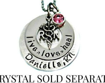 Hand Stamped Jewelry RN Necklace LPN BSN Cadeceus Nurses Nursing Student