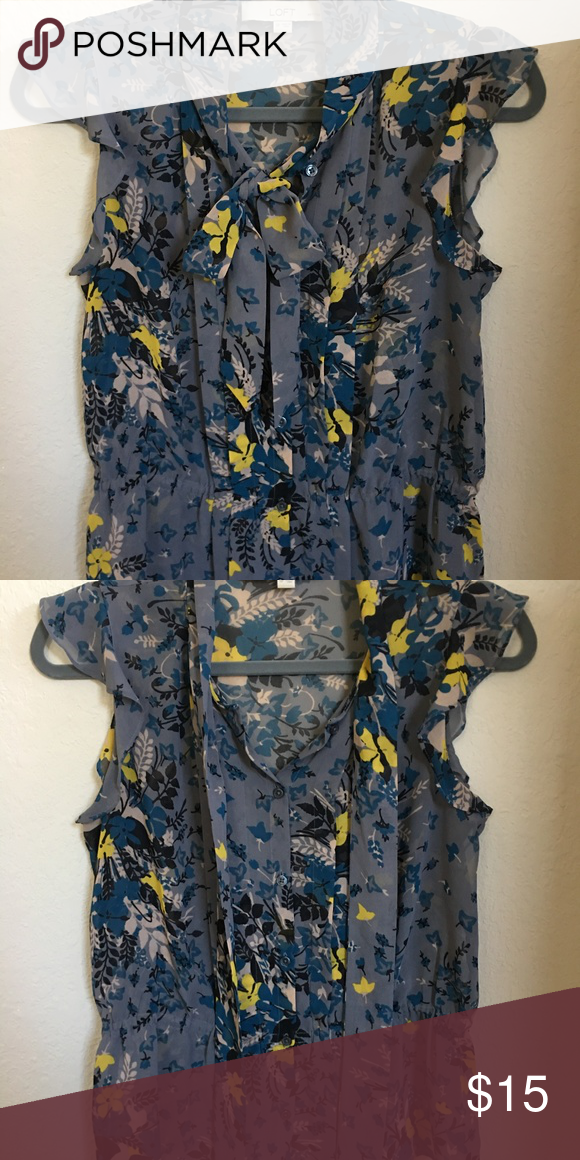 76ada39017 Loft Button Down w  Floral Design   Front Tie Blouse is gray w  blue and  yellow floral pattern