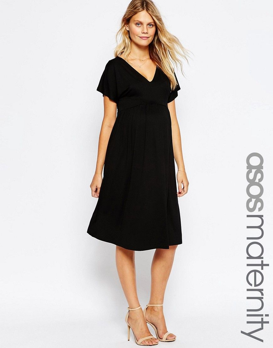 46cf21444d5 Image 1 of ASOS Maternity Midi Dress with Flutter Sleeve
