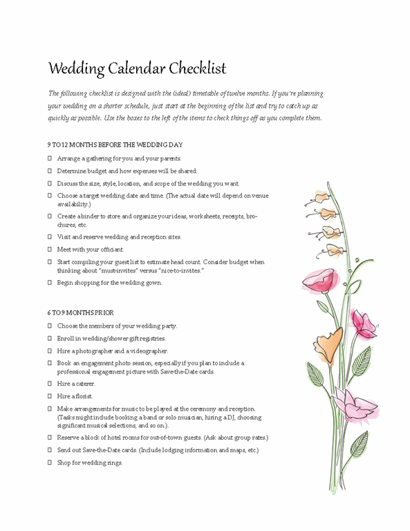 wedding to do list template
