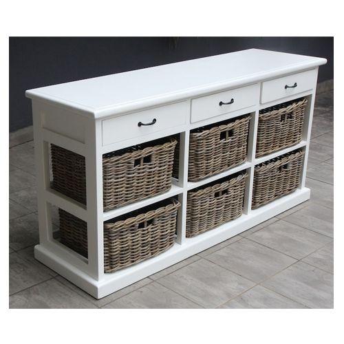 Paris Wood Wicker 3 Drawers 6 Baskets Storage Unit Muebles De