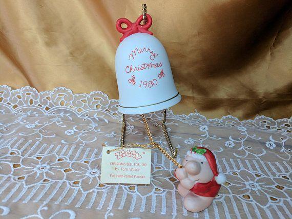 Ziggy Merry Christmas 1980 Bell Christmas Ornament Porcelain