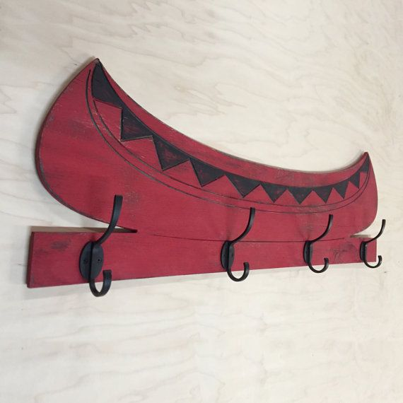 Wooden Canoe Hook Lake House Decor Wall Towel Hooks Cabin Bathroom Log Home