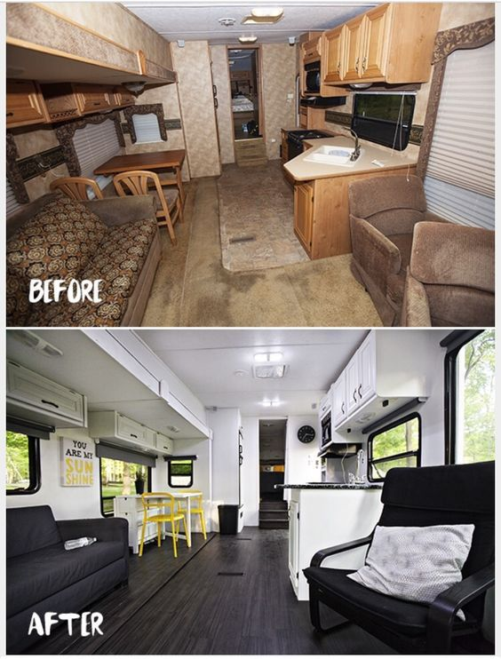 RV renovation! So bright in there now! | Remodeled campers ...