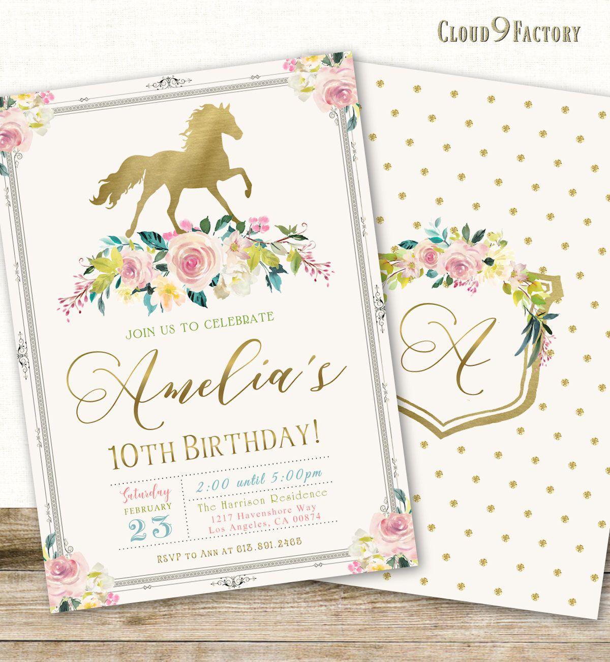 Horse Invitations, Horse Birthday Party Invitation, Pony Party ...