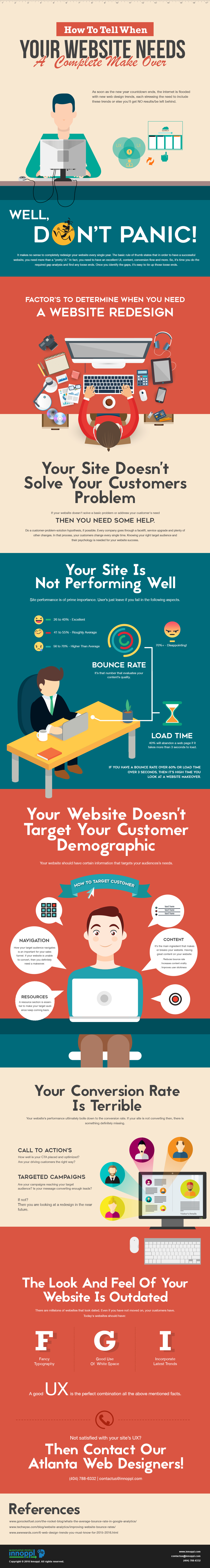 """""""Do I need a website redesign?"""" It's a common question every website owner's mind when their website doesn't perform up to their expectations. The fact is that the trends change every year. This infographic by Innoppl highlights on various key factors that denotes your site's success."""