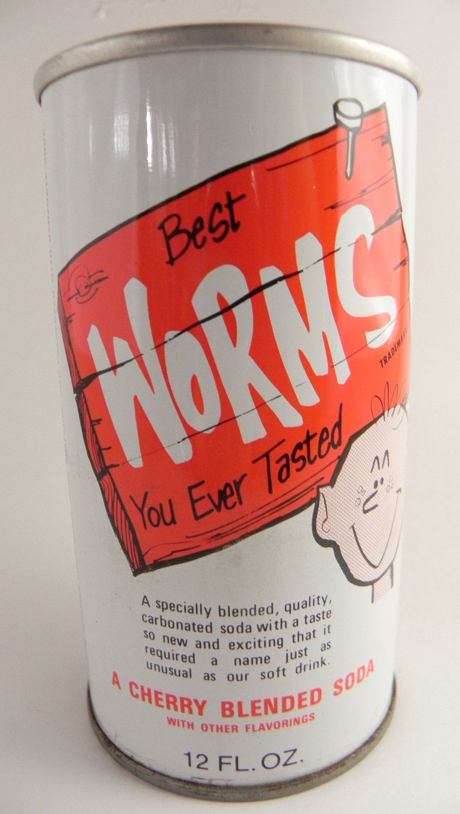 I Like Worms 12oz Pull Tab Steel Old Vintage Soda Can Canning Heart For Kids Soda Pop