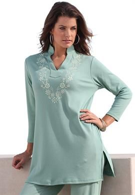 Embroidered Mandarin Tunic | Plus Size Tops & Tees | OneStopPlus