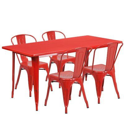 Mercury Row Corrado 5 Piece Dining Set Finish Red Outdoor Table Settings Outdoor Tables Patio Dining Set