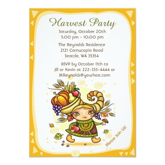 Cornucopia Autumn Harvest Girl Invitation