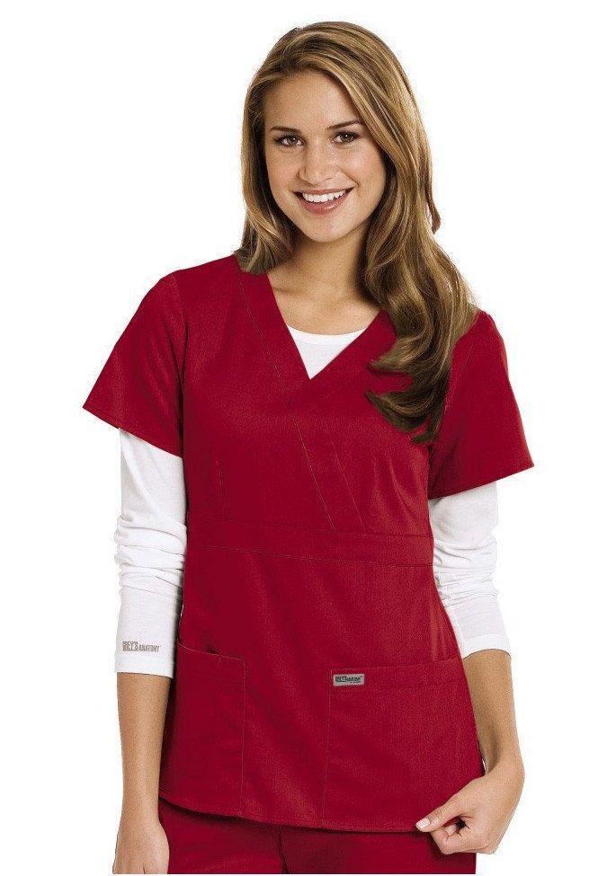 54f4a906bb68e Greys Anatomy 3-pocket mock-wrap scrub top. In hot tamale. | Scrubs ...
