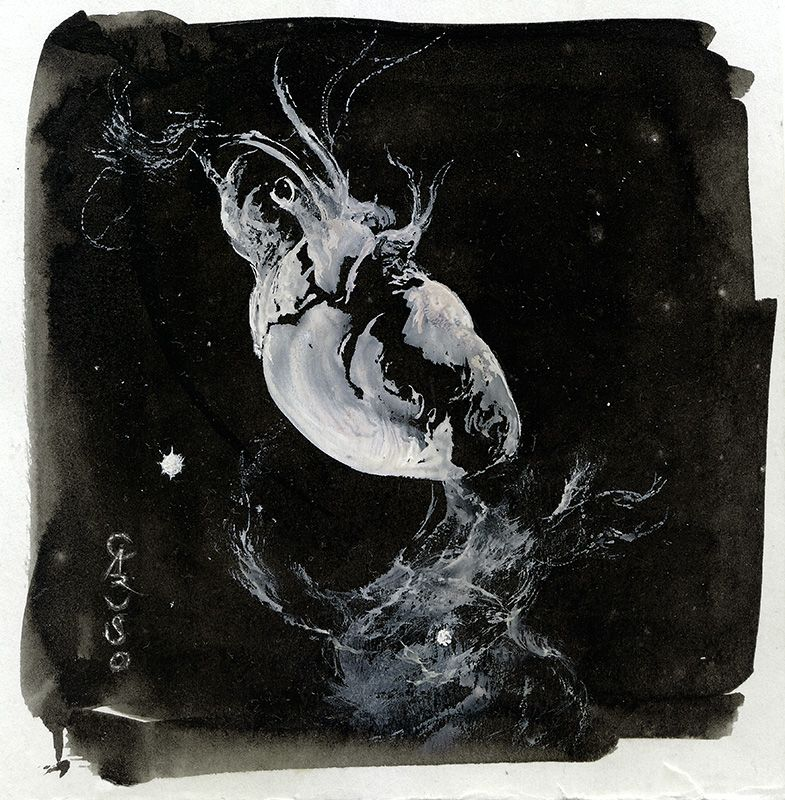 santiagocaruso: NEBULOUS HEART by Santiago Caruso Ink & Tempera | 14 cm x 14 cm | 2016