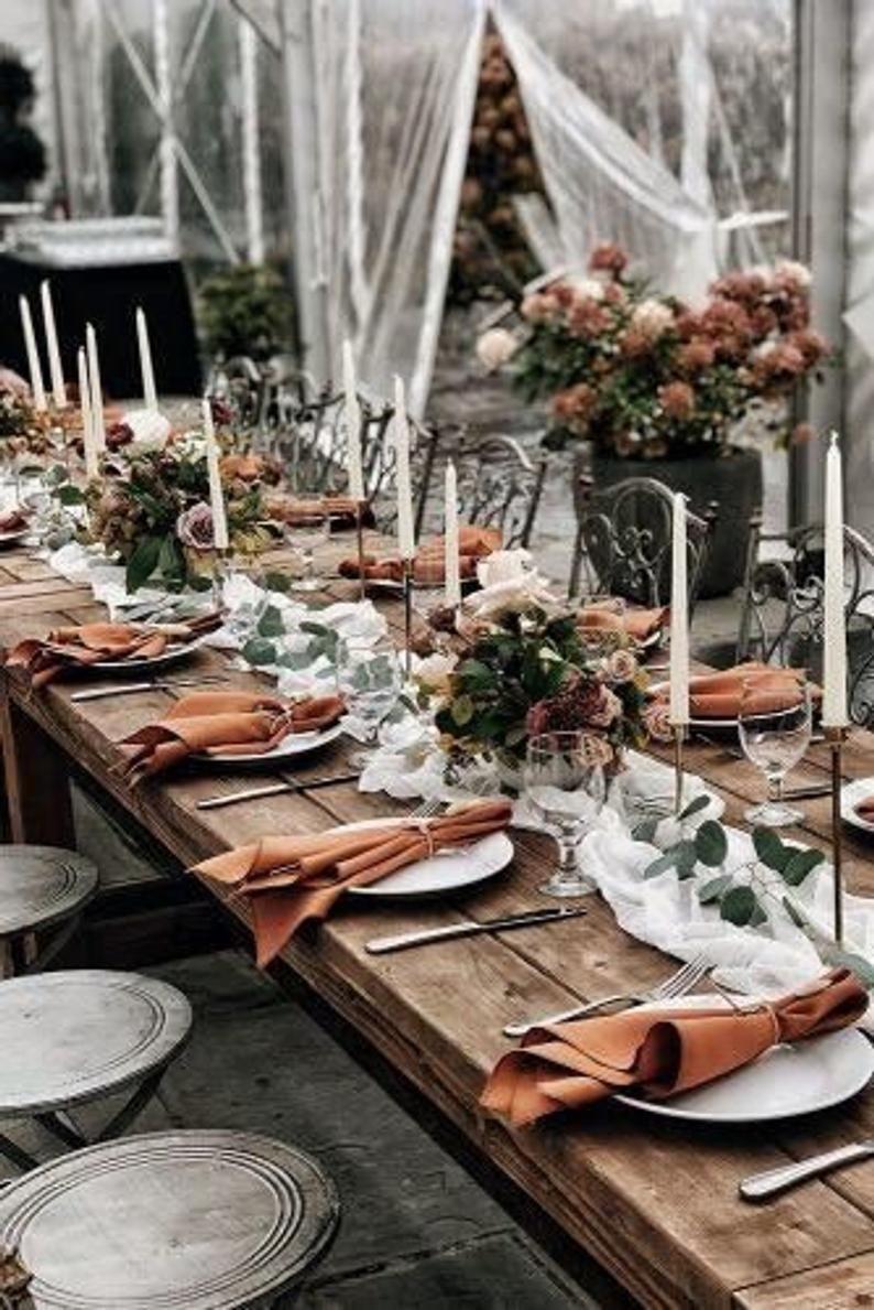 RUST Cotton Dinner Napkins Beach Wedding Table Dec