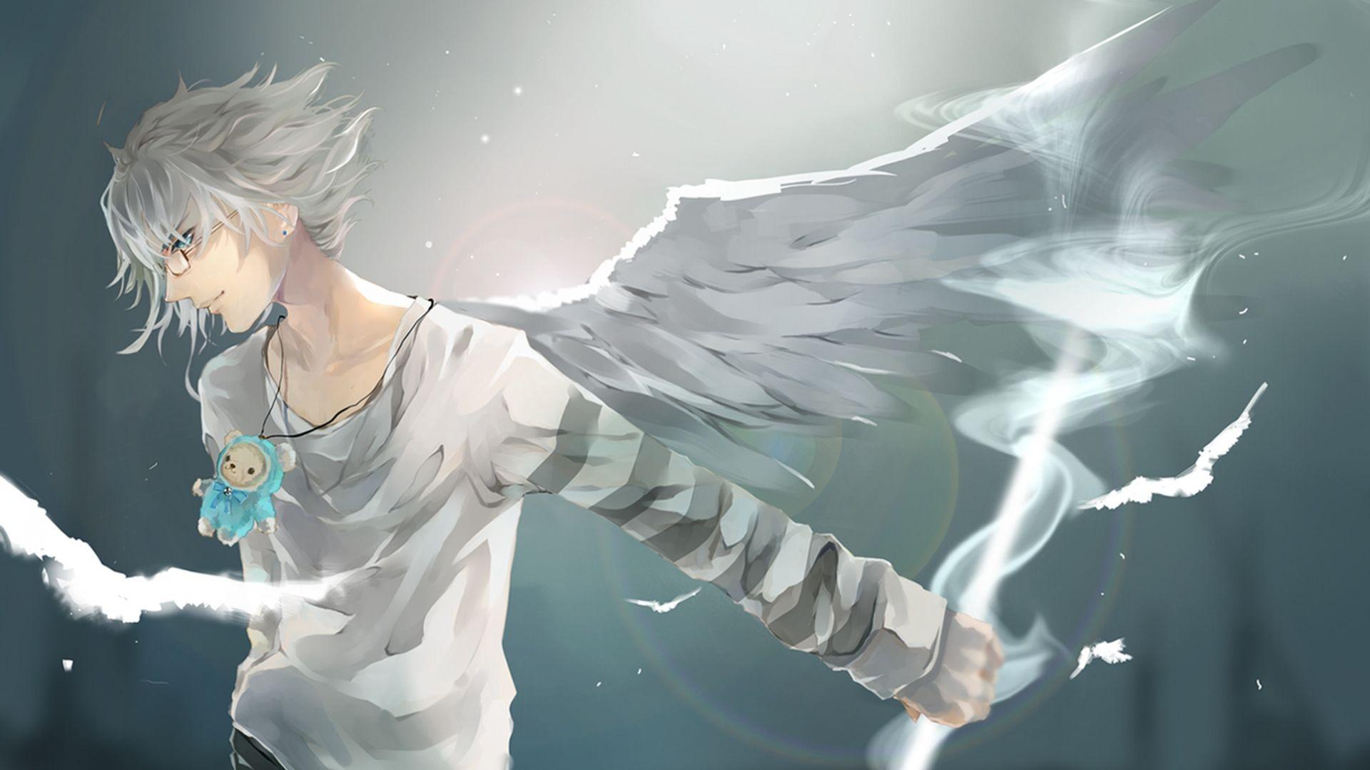 Download Wallpaper 1920x1080 Anime, Boy, Wings, Art Full