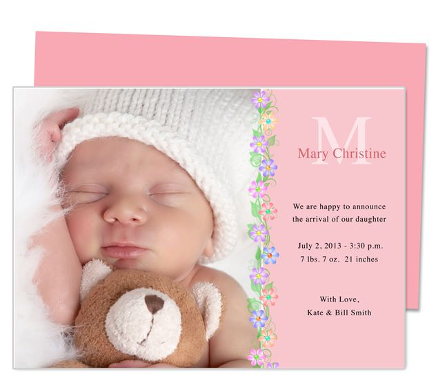 printable baby birth announcement template design with floral trimming edit easily in word