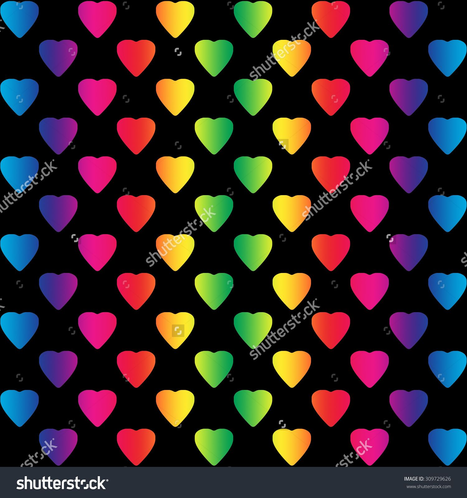 Bright Rainbow Colored Hearts On Black Background, A Seamless
