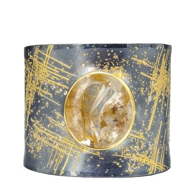Atelier Zobel at Patina Gallery. Bracelet, Oxidized Sterling Silver, 24K & 22K, Yellow Gold, 48.30cts Rutilated Quartz, 0.29cts Champagne Colored Diamonds, vsi