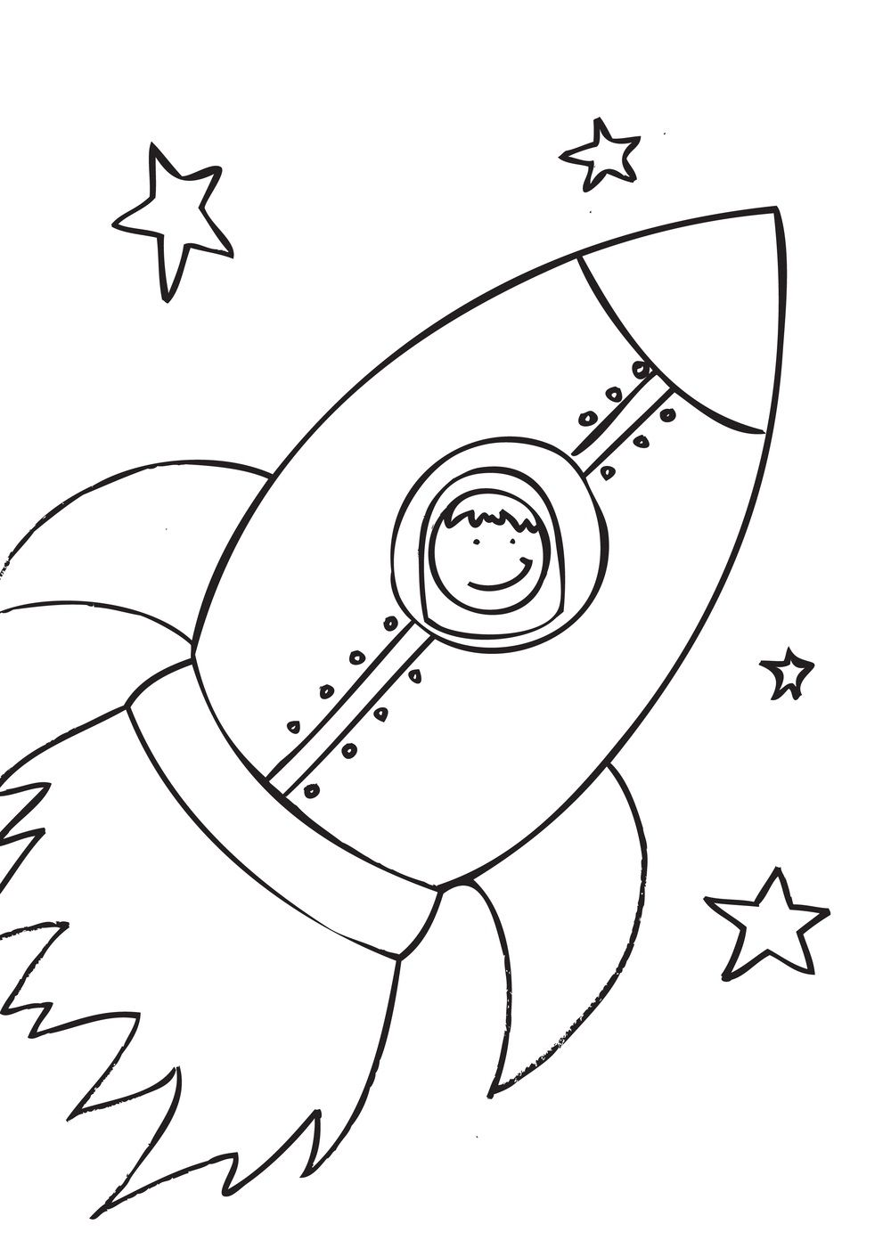 Preschool Rocket Coloring Pages