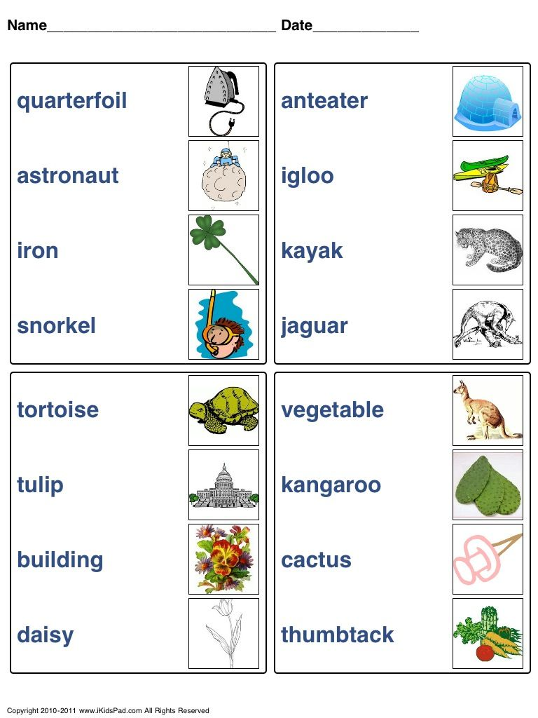 Workbooks teach-nology.com worksheets : Match words picture | Worksheets for different lessons, English ...