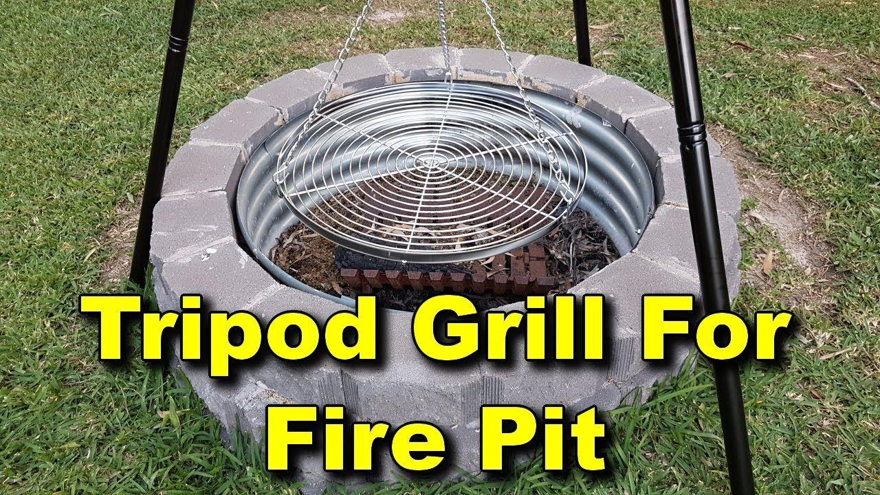 Tripod Grill Setup For Fire Pit Adjustable Pulley System Fire Pit Grill Fire Pit Bbq Fire Pit