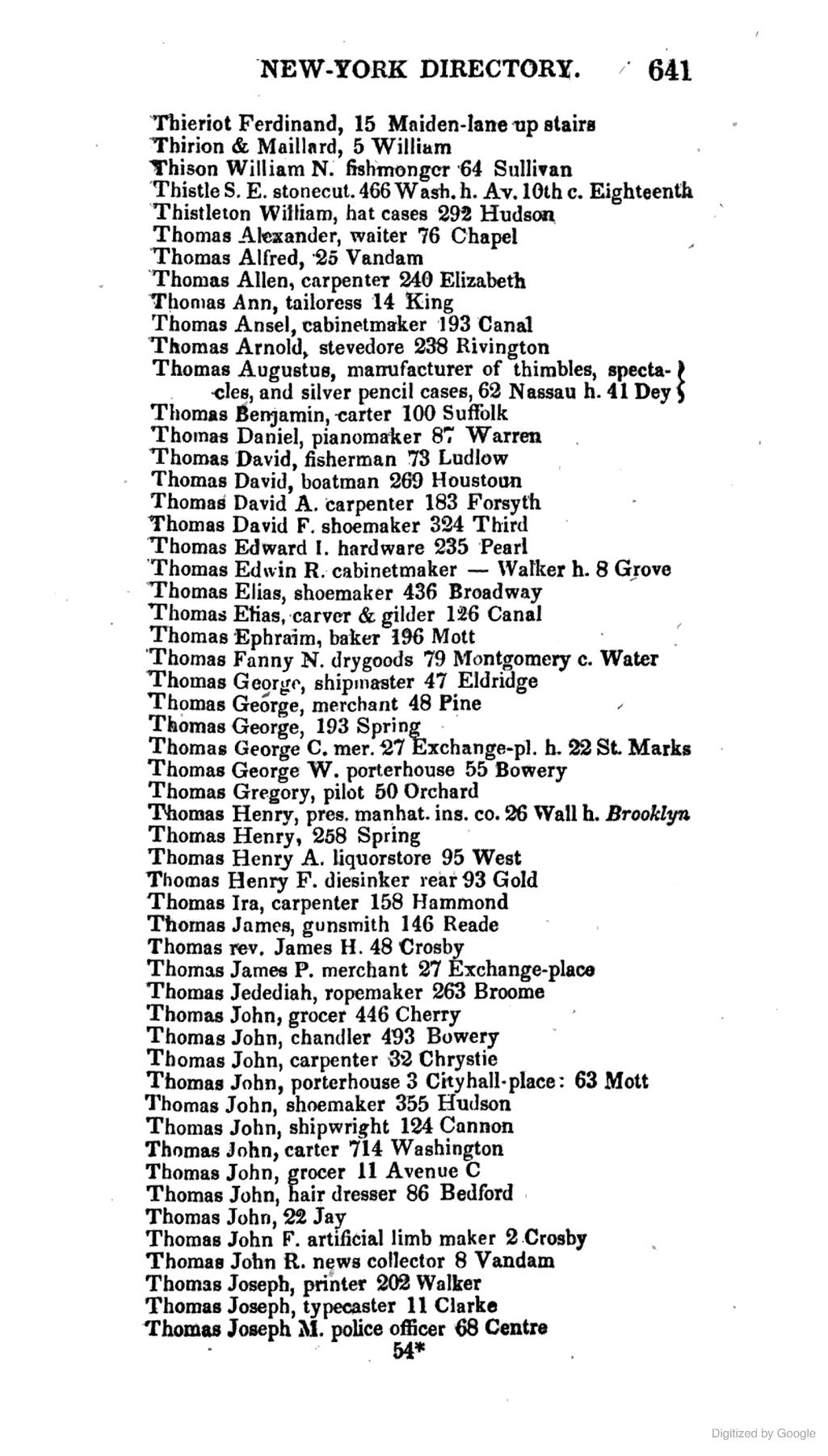 Thomas George W., PORTERHOUSE, 55 Bowery. 1835 Longworth's