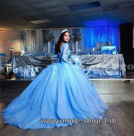 Langarm Quinceanera Prinzessin Ballkleid Abendkleid in ...