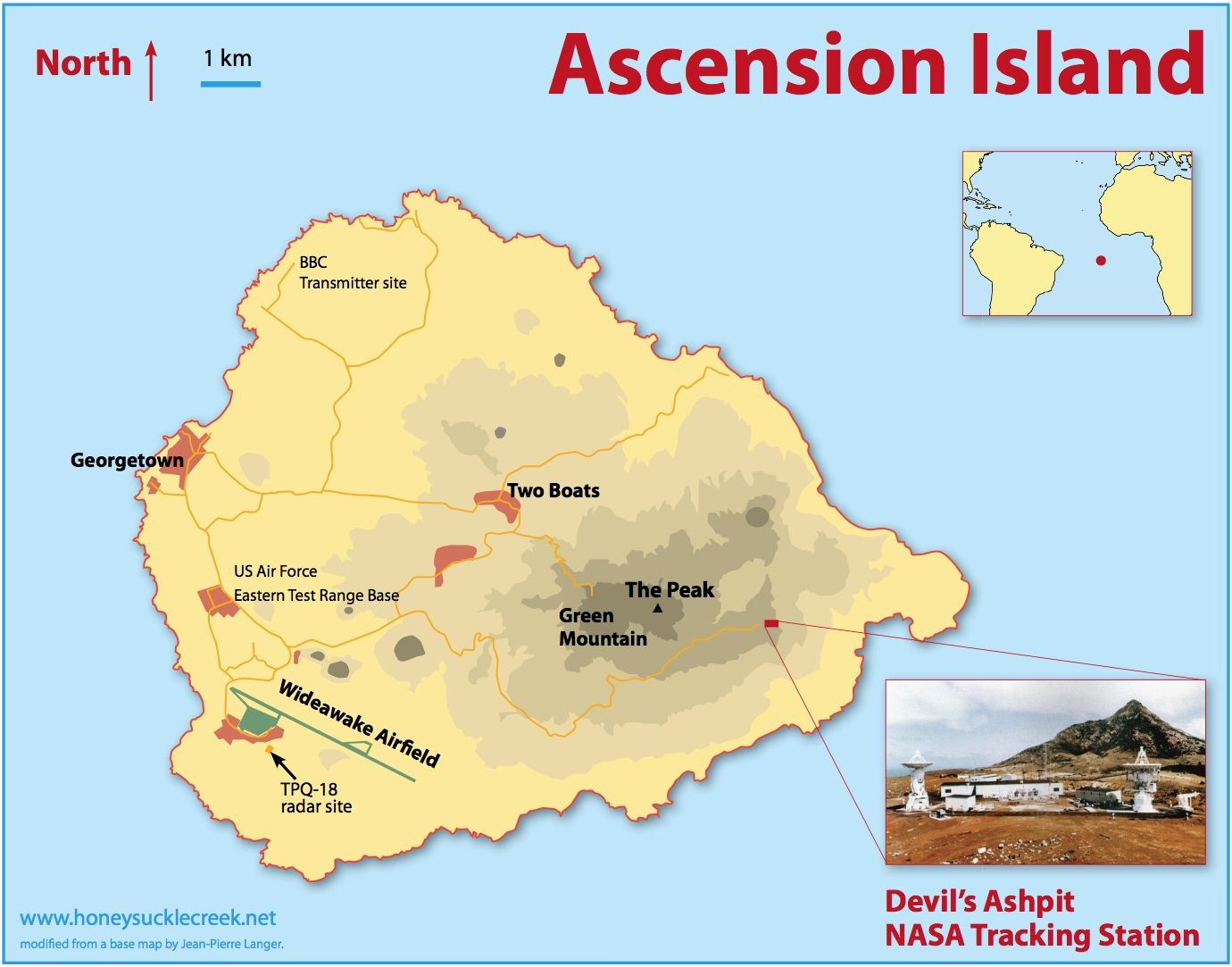 ASCENSION ISLAND map | St Helena, Ascension & Tristan da ...