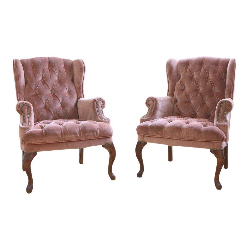 pink tufted chair velvet