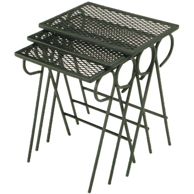 Set Three Black Wrought Iron Nesting Tables Attr. Salterini