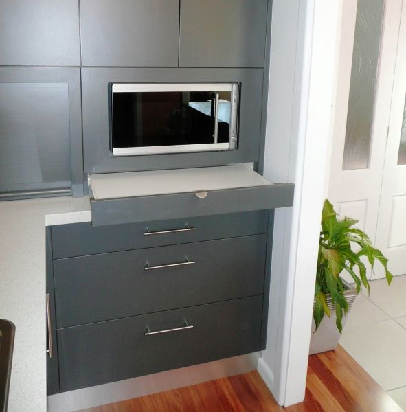 extra pull out shelf under microwave