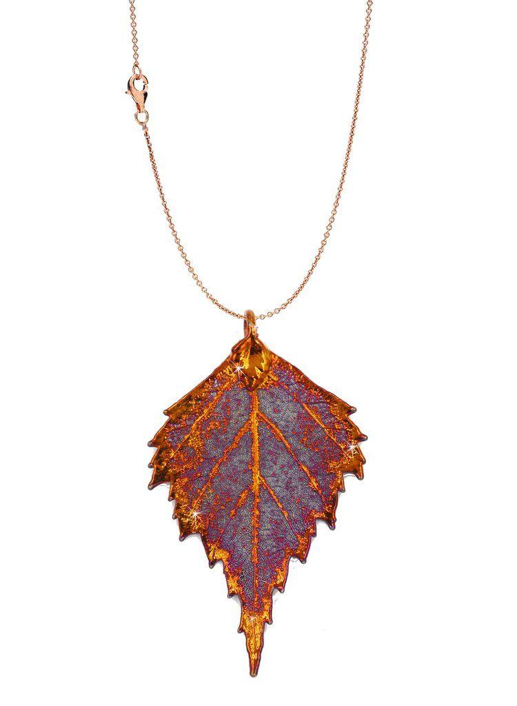 Real leaf necklace - Birch leaf in iridescent copper. xzRdpU