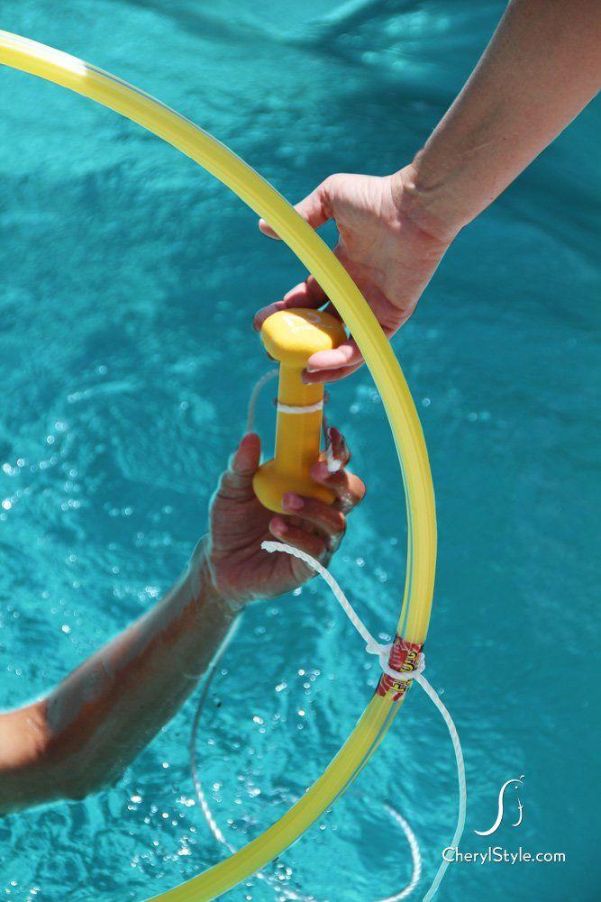 DIY hula hoop obstacle course pool game