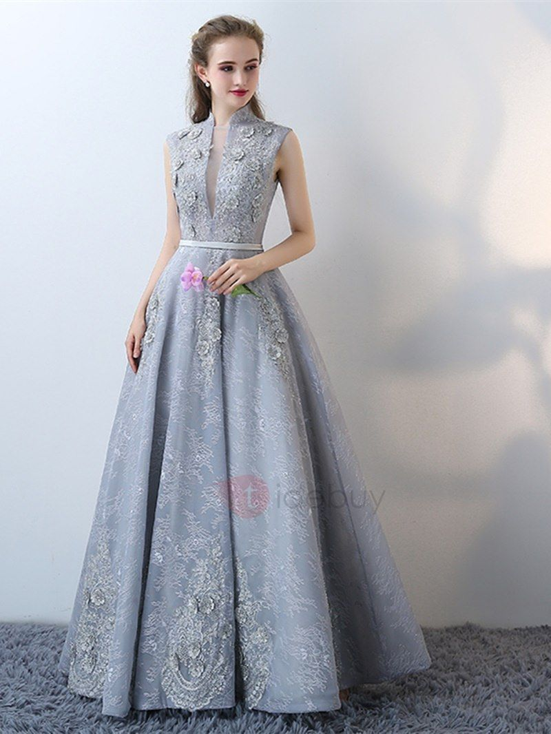 Tidebuy.com Offers High Quality Modern A-Line High Neck Lace Cap Sleeves  Lace Flowers Floor-Length Evening Dress 05d4f45bbfce