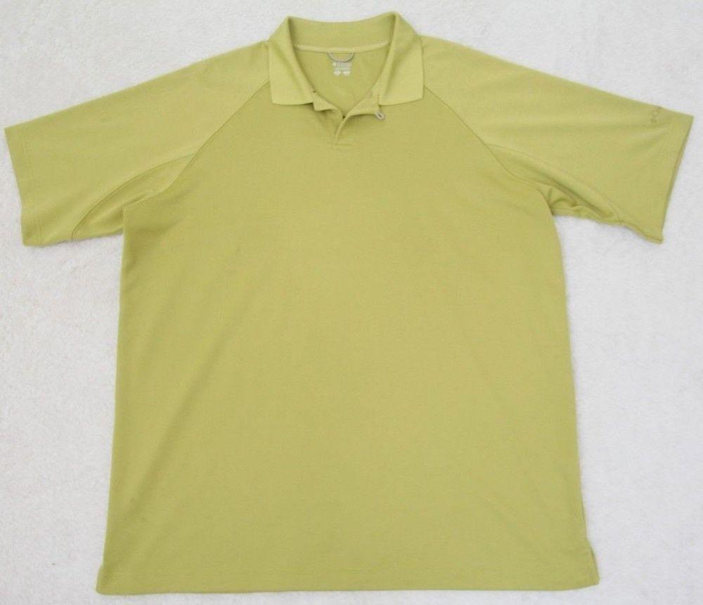 Columbia Polo Shirt Xl Tg Green Short Sleeve Mens Solid Poly Extra