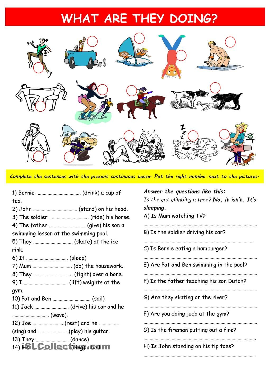 Present continuous practice | ESL worksheets of the day | Pinterest ...