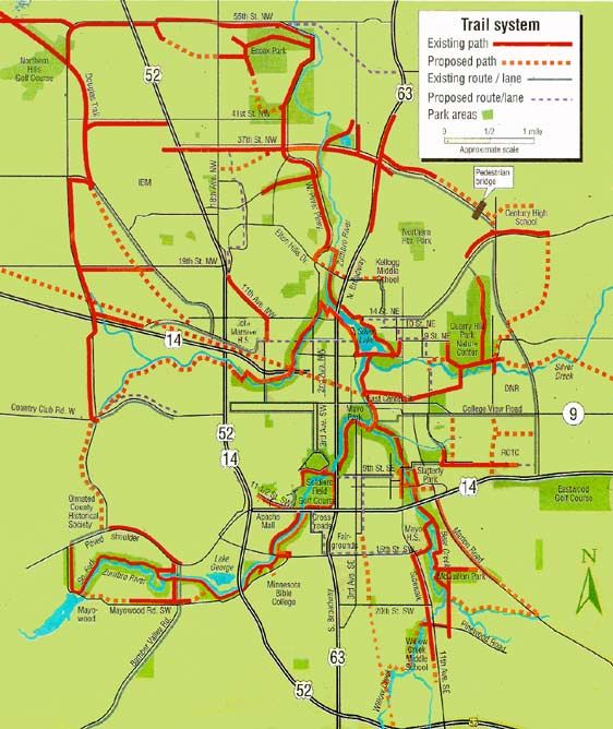 Bicycle Sports Map Or Rochester Bike Trail System Bicycle