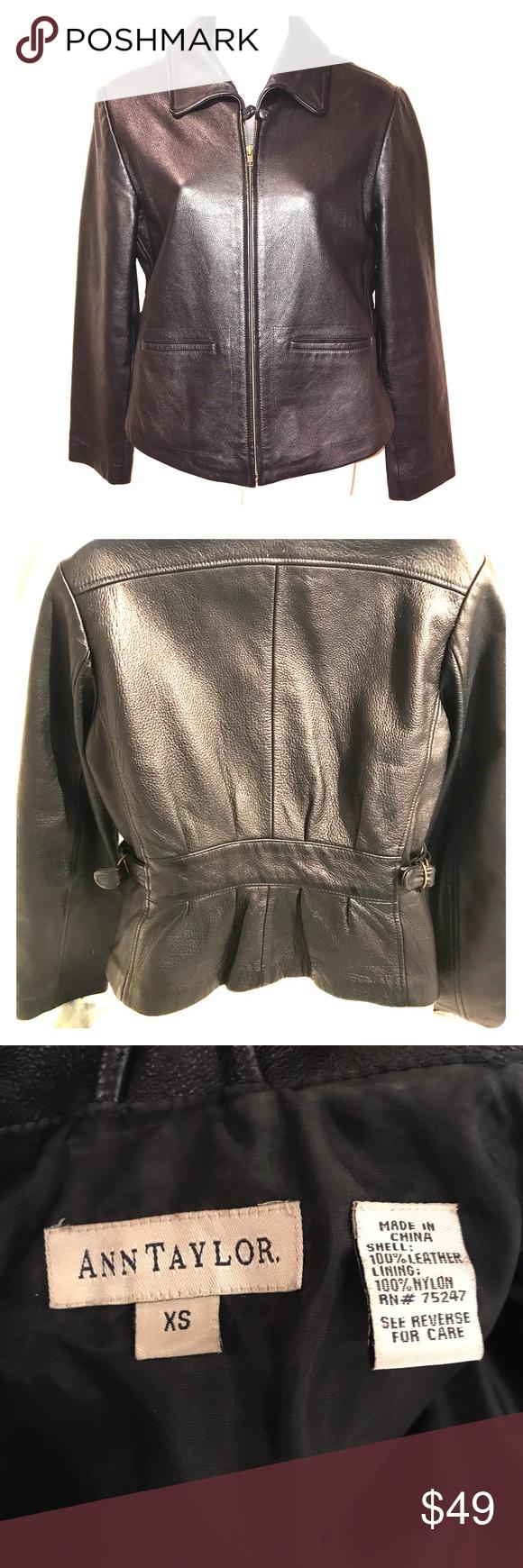 Leather jacket xs - Ann Taylor Leather Jacket Xs Classic Black Leather Jacket By Ann Taylor Lined Pockets